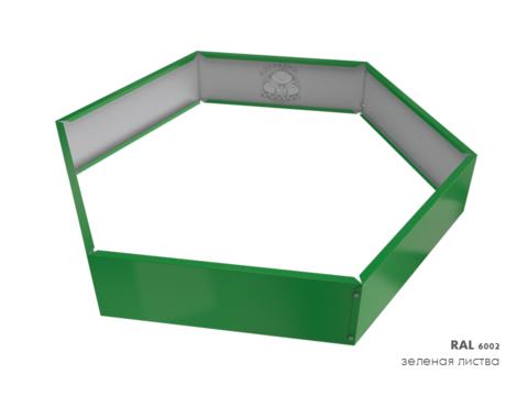 Клумба многоугольная оцинкованная 1 ярус  RAL 6002 Зеленая листва