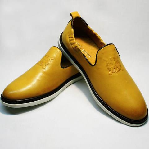Модные туфли слиперы. Мужские летние туфли желтого цвета KingWest-YellowWhite.