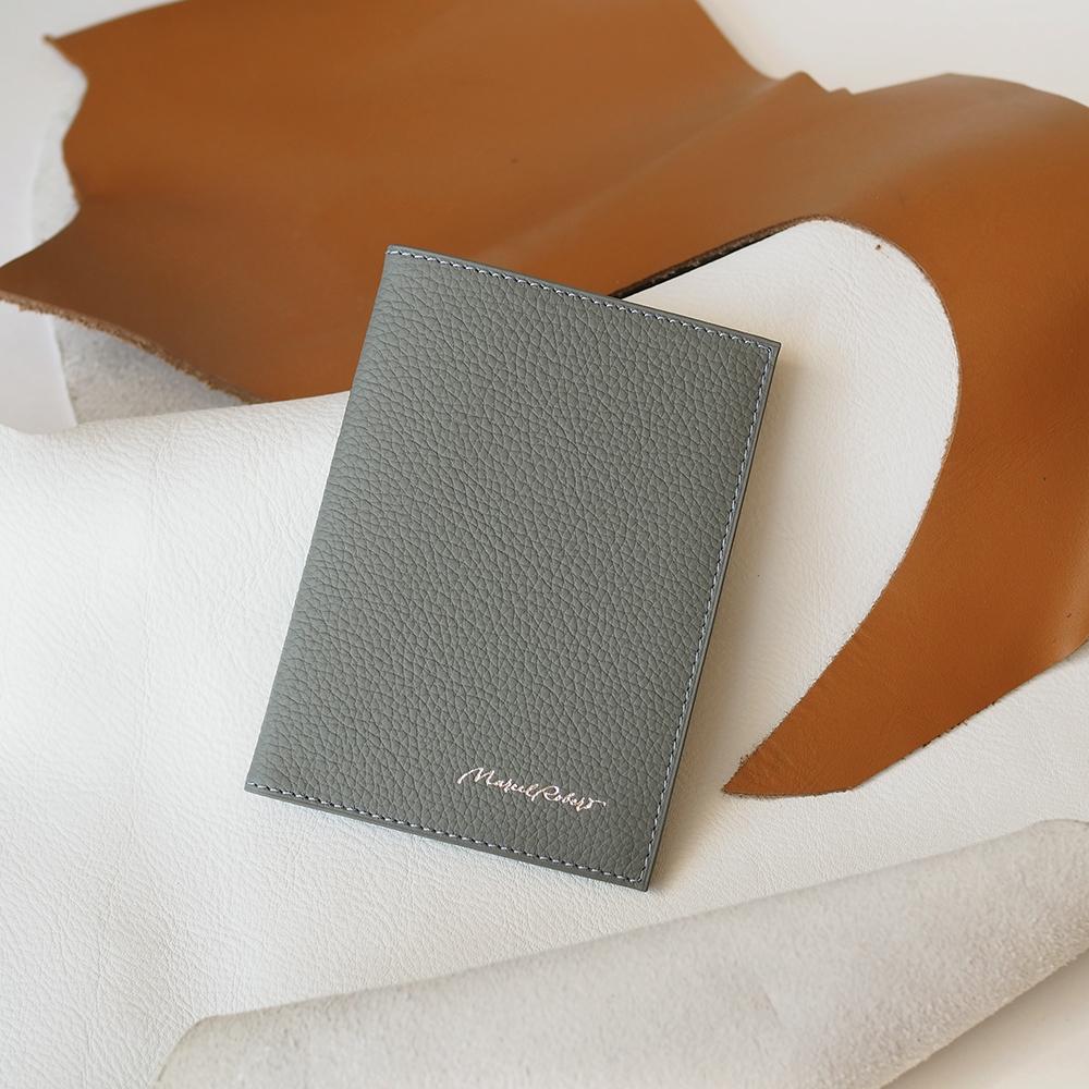 Обложка для паспорта и автодокументов Moscou Easy из натуральной кожи теленка, стального цвета