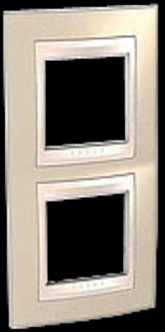 Рамка на 2 поста. Цвет вертикальная Песчаный/Белый. Schneider electric Unica Хамелеон. MGU6.004V.867
