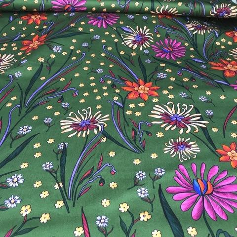 Ткань хлопок сатин с эластаном зеленый с цветами 2022