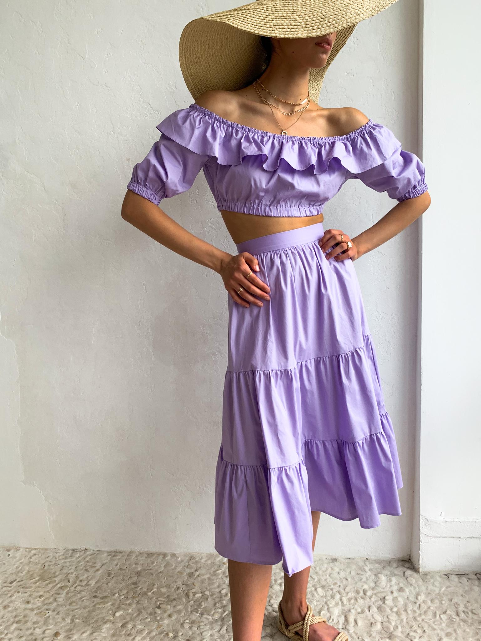 Костюм (ярусная юбка и топ на резинке) (сиреневый)