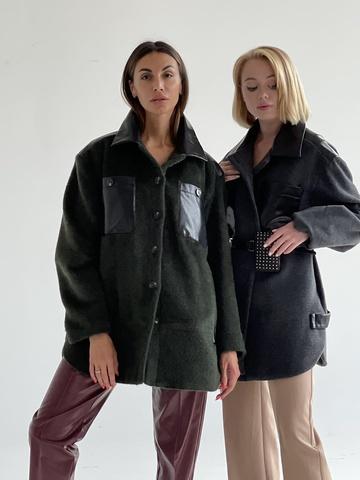 Пальто рубашечного кроя  из итальянский шерсти с отделкой из эко кожи - 1 на весь мир