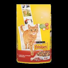 Friskies Сухой корм для взрослых кошек с Mясом, курицей и печенью