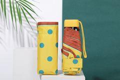 Зонт миниатюрный с защитой от УФ, 6 спиц, принт- Горох (желтый)