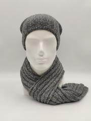 Мужской молодежный комплект шапка бини/ колпак и шарф, серый меланж