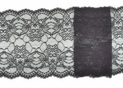 Эластичное кружево, 21,5 см, черное, (Арт: EK-2156), м