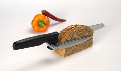 Нож Victorinox для хлеба, лезвие 21 см, с регулировкой толщины среза, черный