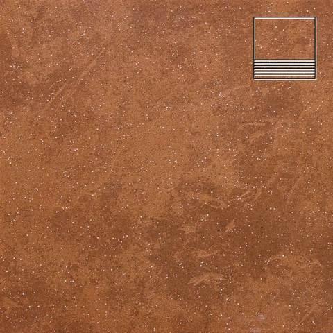 Stroeher - Keraplatte Roccia 841 rosso 300x294x10 артикул 8131 - Клинкерная ступень с насечками без угла
