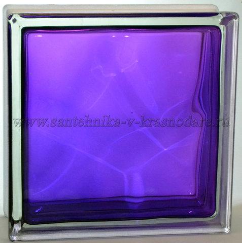 Купить стеклоблок фиолетовый волна окрашенный изнутри  Vitrablok 19x19x8