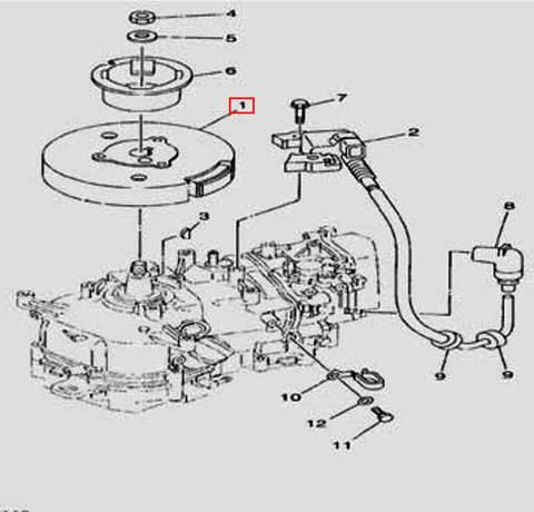 Ротор в сборе для лодочного мотора F5 Sea-PRO(11-1)