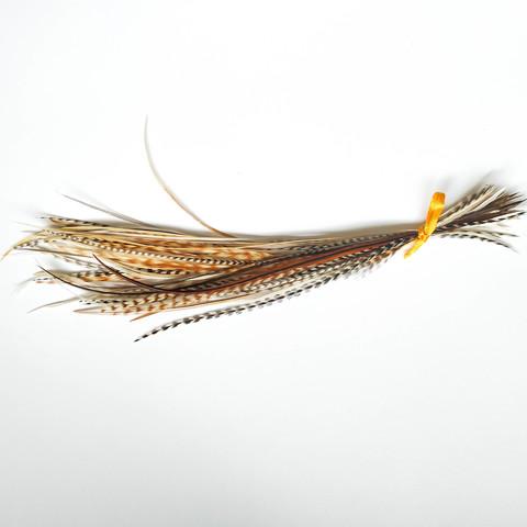 Перья петуха в волосы 20-25 см. 50 шт. (натуральный рыжий)