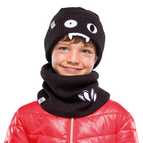 Вязаная шапка детская Buff Hat Knitted Funn Bat Black фото 2