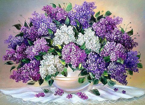 Алмазная Мозаика 20x30 Сирень в белой вазе