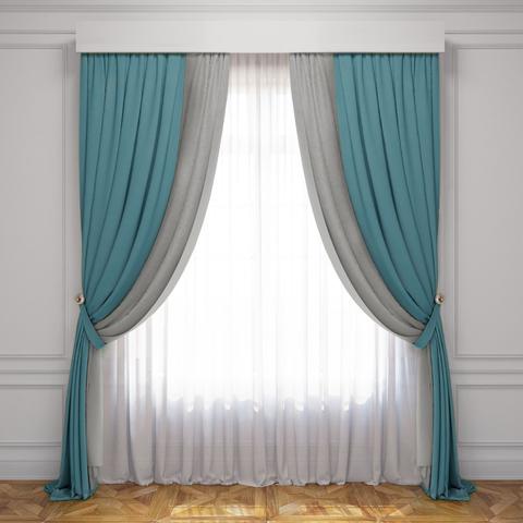 Комплект штор и тюль Ламанш бирюзово-серый