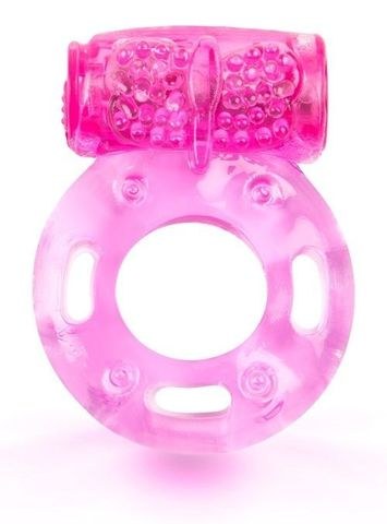 Розовое эрекционное кольцо с виброэлементом