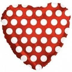 Сердце, В белый горошек, Красный, 18