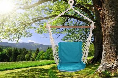 Гамак кресло из льна с поролоновыми вставками бирюзово-голубой  RGK4BG