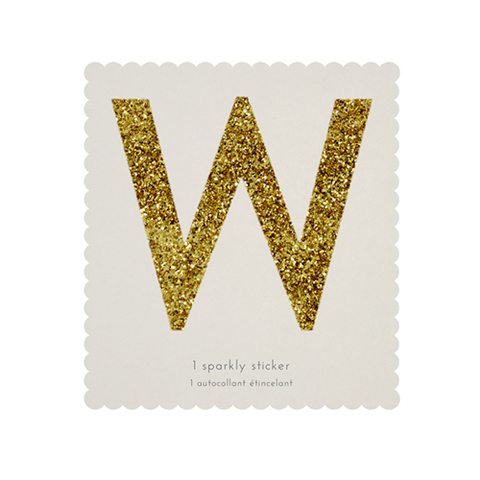 Стикер W, мерцающее золото