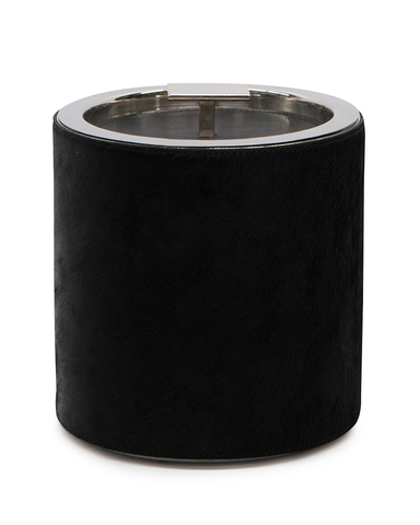 Black Leather and Stainless Steel Ice Bucket
