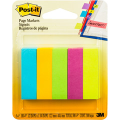Клейкие закладки Post-it бумажные 5 цветов по 100 листов 12.7х44.4 мм