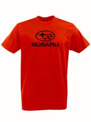 Футболка с принтом Субару (Subaru) красная 001