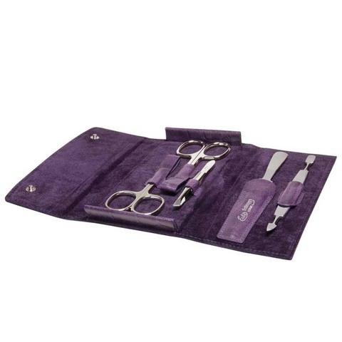 Маникюрный набор Erbe, 5 предметов, цвет фиолетовый, кожаный футляр