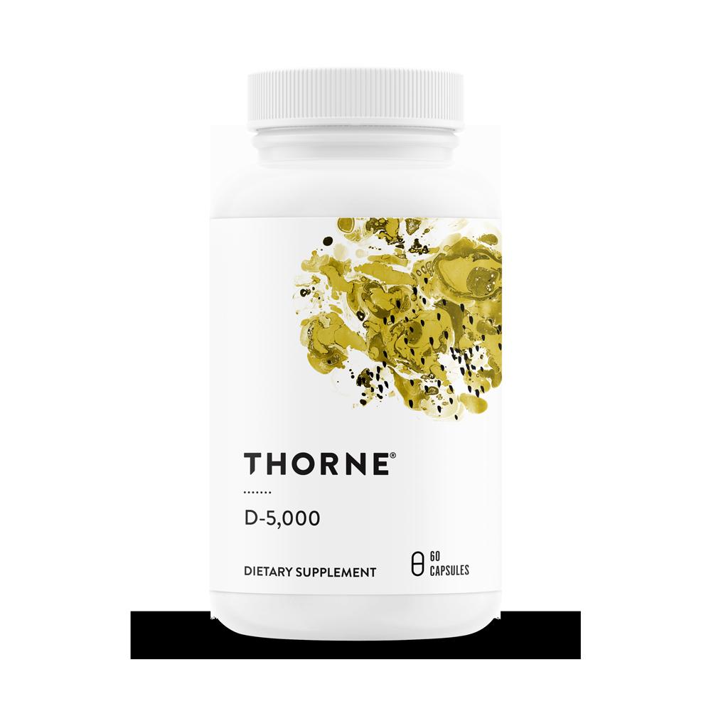 Витамин Д 3, D-5000, Vitamin D, Thorne Research, NSF Certified for Sport (60 капсул)