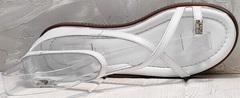 Кожаные сандали босоножки на тонких ремешках Evromoda 454-402 White.