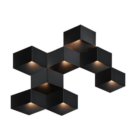 Настенный светильник копия Fold 4208 by Vibia (8 плафонов, черный)