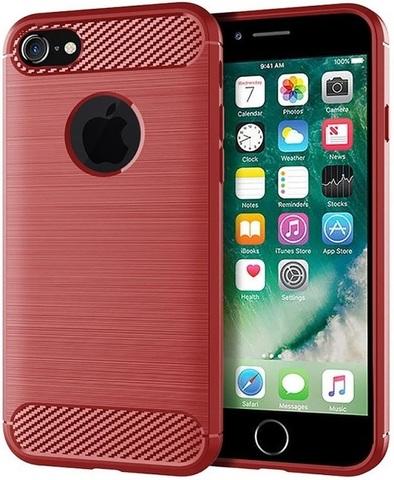 Чехол iPhone 7 (iPhone 8) цвет Red (красный), серия Carbon, Caseport