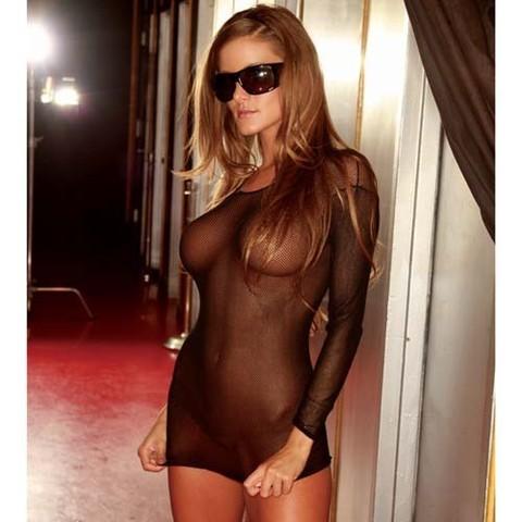 Эротическое короткое платье в черную сетку Hustler