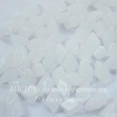 Бусина DiamonDuo Ромб с 2 отверстиями, 8х5 мм, белая глянцевая