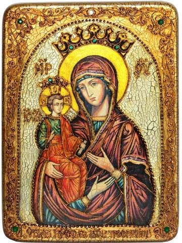 Инкрустированная икона Образ Божией Матери Троеручица 29х21см на натуральном дереве в подарочной коробке