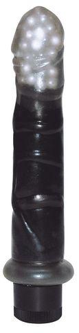Гелевый вибромассажер с бусинами в головке - 17 см.