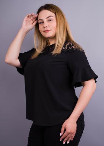 Камелія. Комбінована блуза великих розмірів. Чорний.
