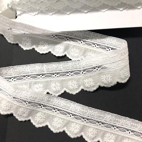 Шитье белое с кружевом фестон тесьма