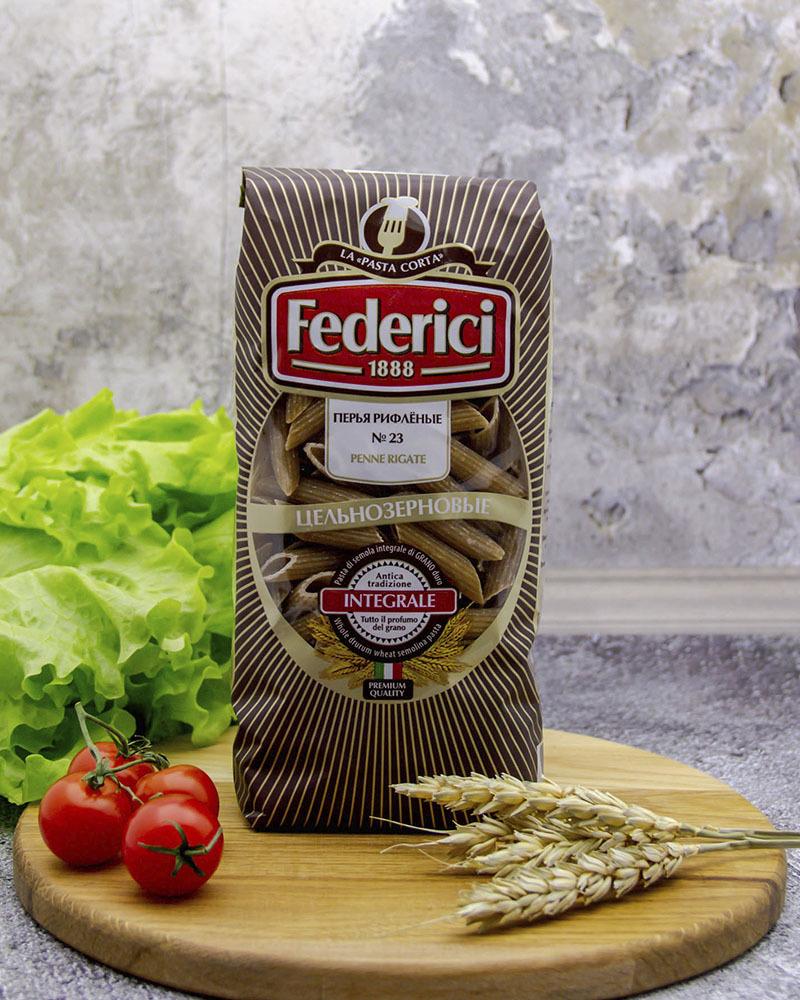 Макаронные изделия Цельнозерновые Перья рифлёные Federici 400 гр.