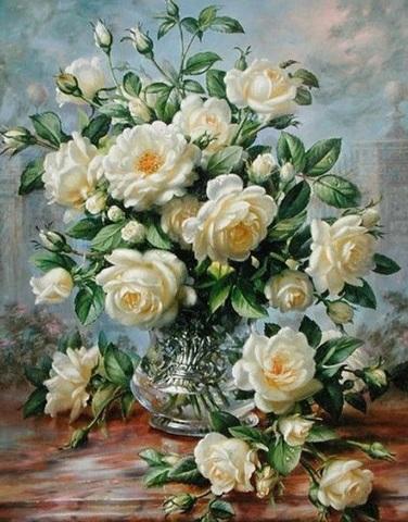 Алмазная Мозаика 40x50 Букет белых роз в прозрачной вазе (арт. ZX8574)