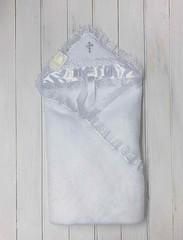 Крыжма для крестин Бантик (белая с серебряным крестиком)