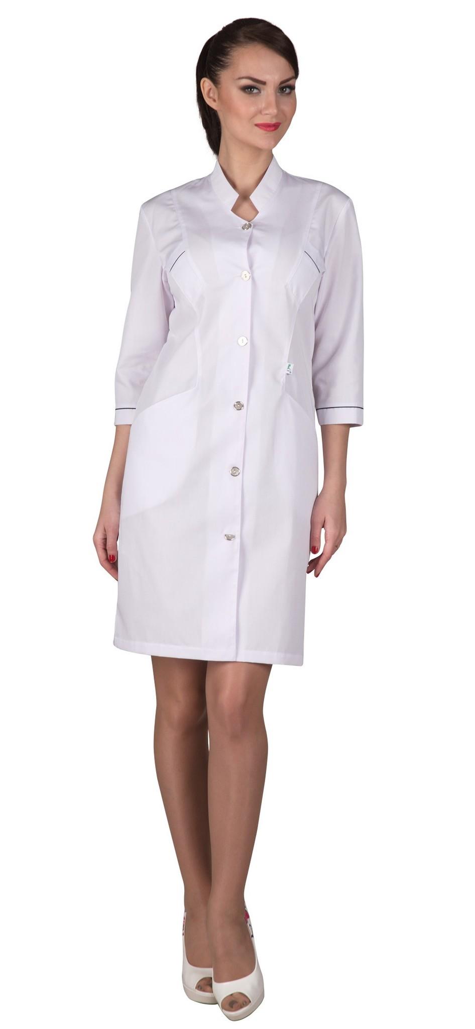 Стильный медицинский женский халат Х-226 сатори белого цвета