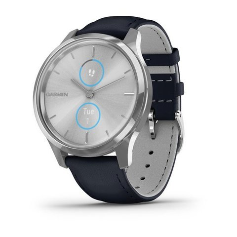 Garmin Vívomove Luxe - Silver Stainless Steel Case with Navy Italian Leather Band