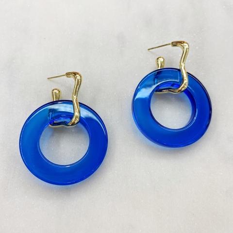 Серьги с подвесками-кольцами, акрил (синий)