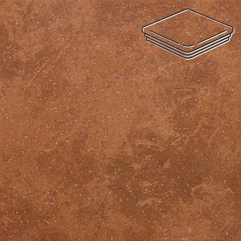 Stroeher - Keraplatte Roccia 841 rosso 345x345x12 артикул 9331 - Угловая клинкерная ступень - флорентинер