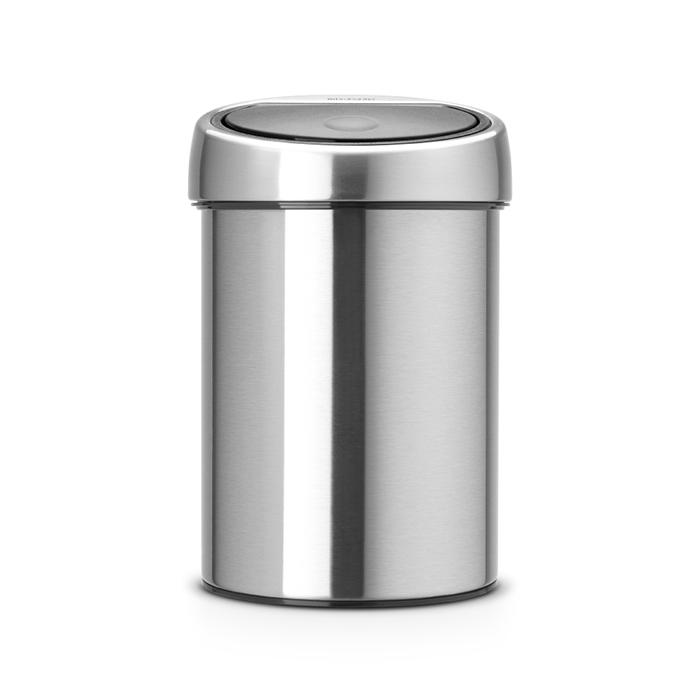 Мусорный бак Brabantia Touch Bin (3л), Стальной матовый (FPP), арт. 378645 - фото 1