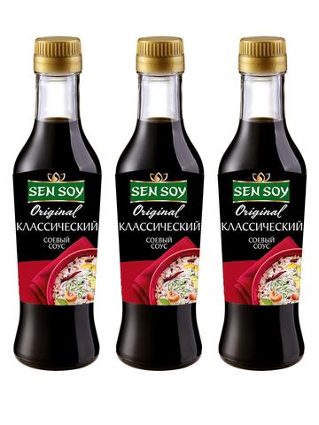Соевый соус Sen Soy Классический в стеклянной бутылке 3 штуки по 250 мл 1кор*1бл*3шт