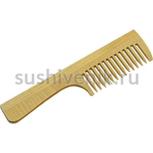 Расческа деревянная с ручкой (береза)