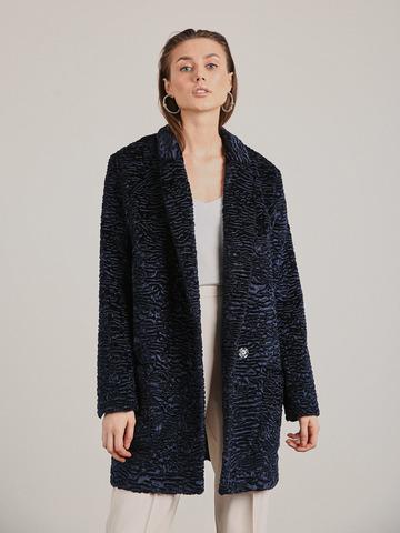 Пальто каракуль темно-синее