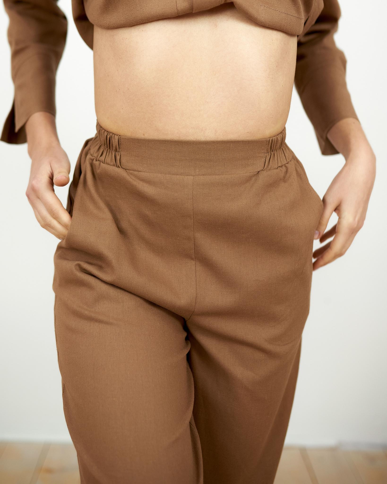 Льняные брюки Шоколад