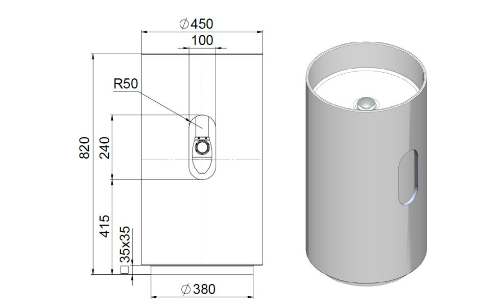 Напольная раковина ARMONIA 201  S-STONE (SOLIX) Матовая 450х450х820 мм